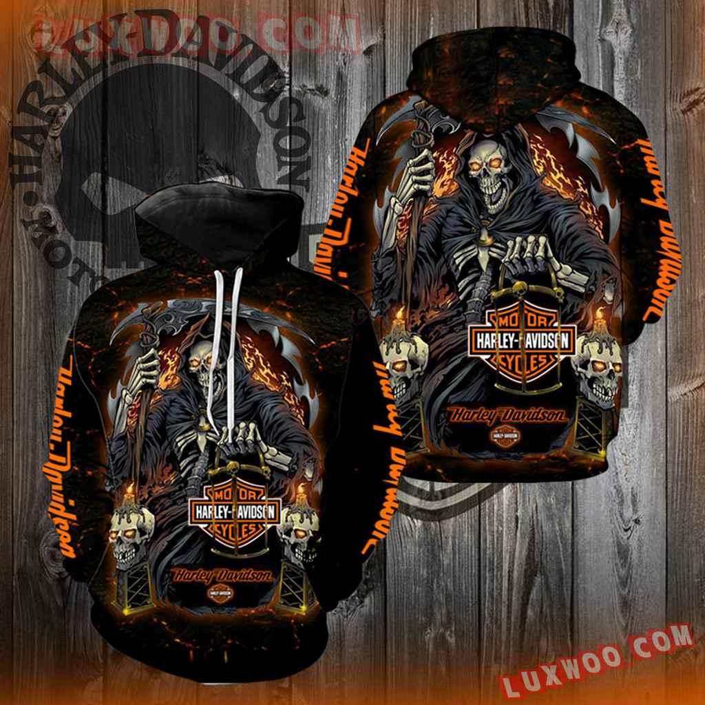Harley Davidson Motorcycle Skull 3d Hoodies Printed Zip Hoodies V20