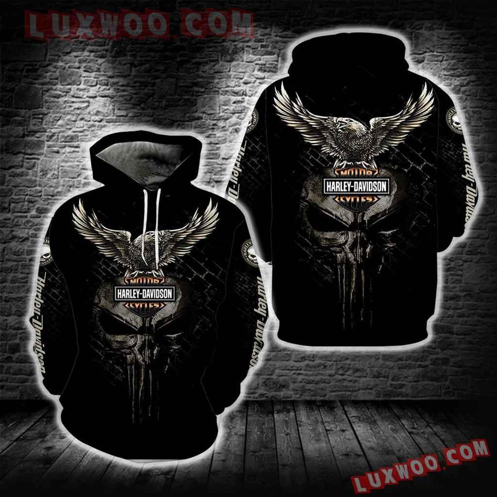 Harley Davidson Motorcycle Skull 3d Hoodies Printed Zip Hoodies V21