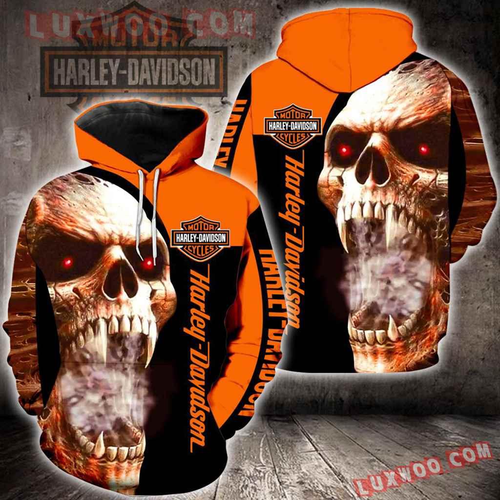 Harley Davidson Motorcycle Skull 3d Hoodies Printed Zip Hoodies V22