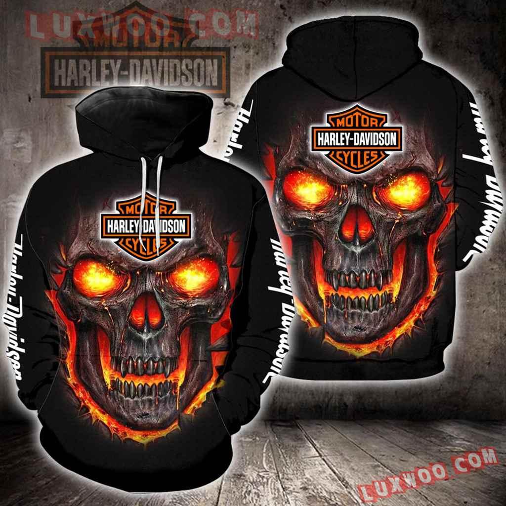 Harley Davidson Motorcycle Skull 3d Hoodies Printed Zip Hoodies V23