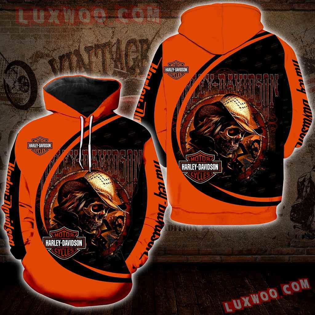 Harley Davidson Motorcycle Skull 3d Hoodies Printed Zip Hoodies V26