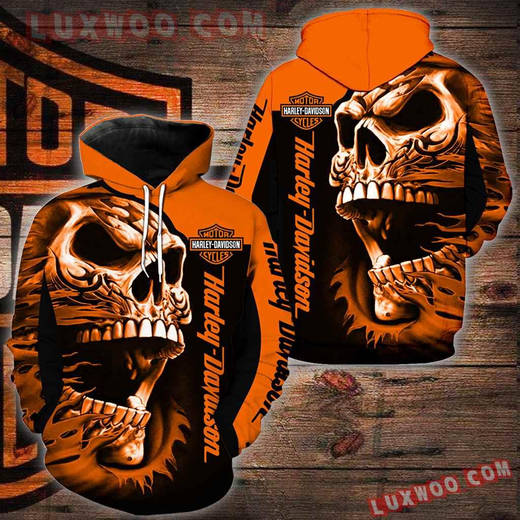 Harley Davidson Motorcycle Skull 3d Hoodies Printed Zip Hoodies V28