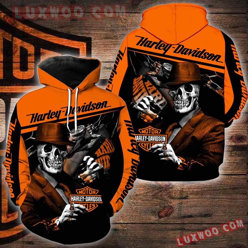 Harley Davidson Motorcycle Skull 3d Hoodies Printed Zip Hoodies V29