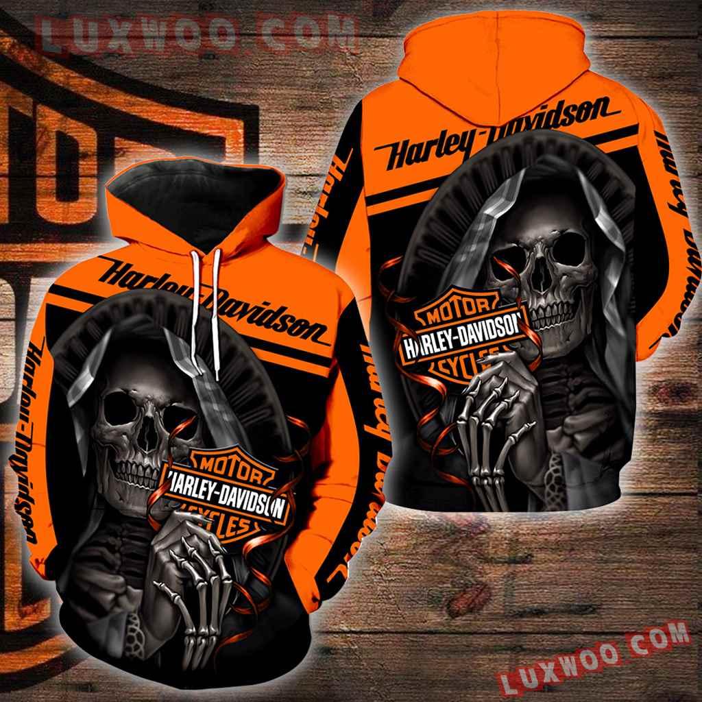 Harley Davidson Motorcycle Skull 3d Hoodies Printed Zip Hoodies V3