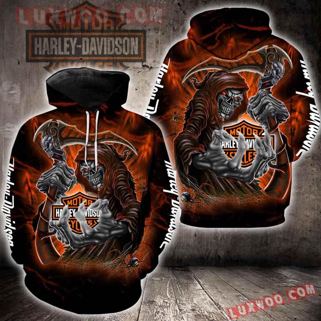 Harley Davidson Motorcycle Skull 3d Hoodies Printed Zip Hoodies V30