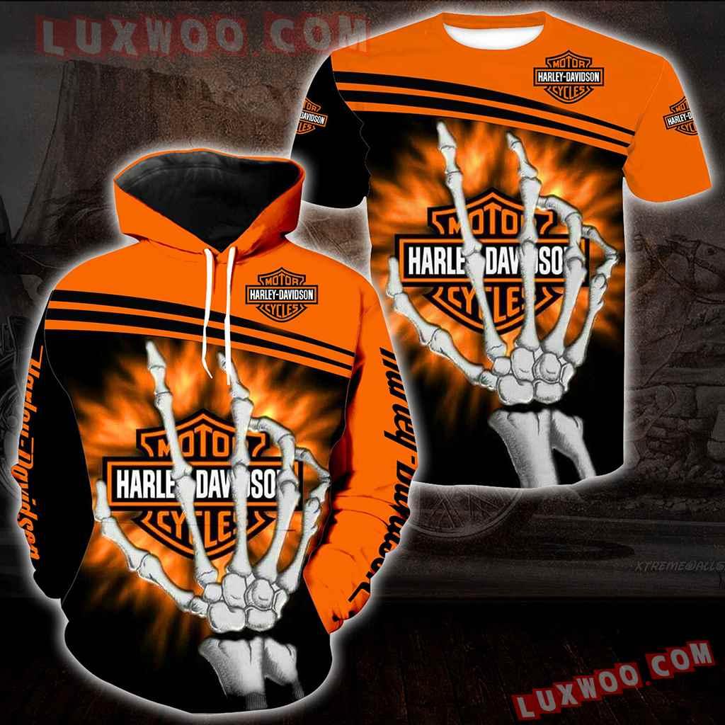 Harley Davidson Motorcycle Skull 3d Hoodies Printed Zip Hoodies V31