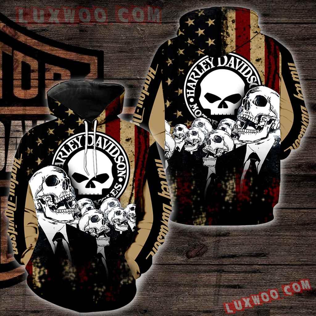 Harley Davidson Motorcycle Skull 3d Hoodies Printed Zip Hoodies V32