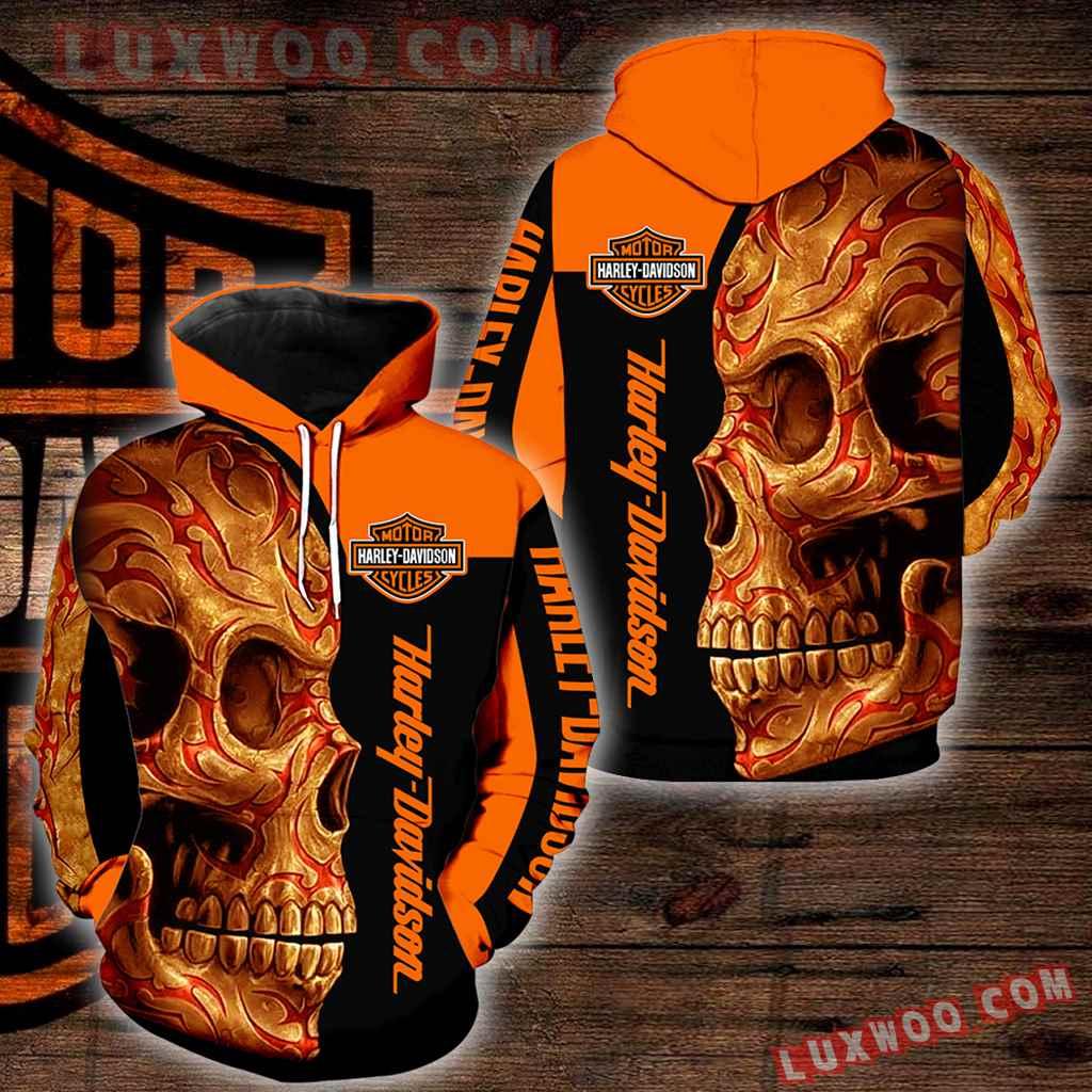 Harley Davidson Motorcycle Skull 3d Hoodies Printed Zip Hoodies V33