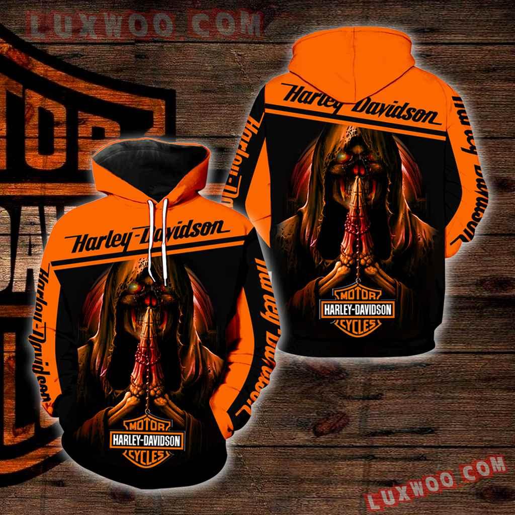 Harley Davidson Motorcycle Skull 3d Hoodies Printed Zip Hoodies V34