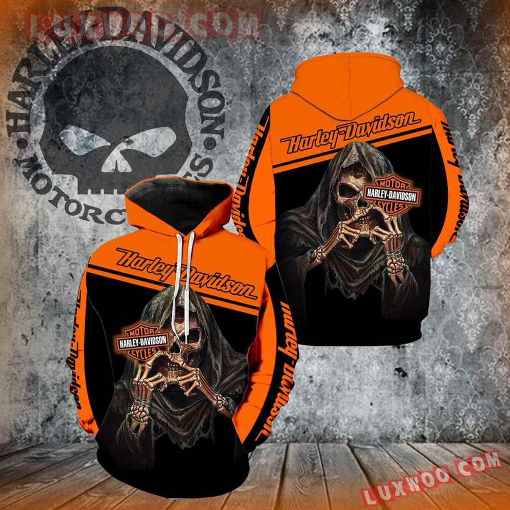 Harley Davidson Motorcycle Skull 3d Hoodies Printed Zip Hoodies V35