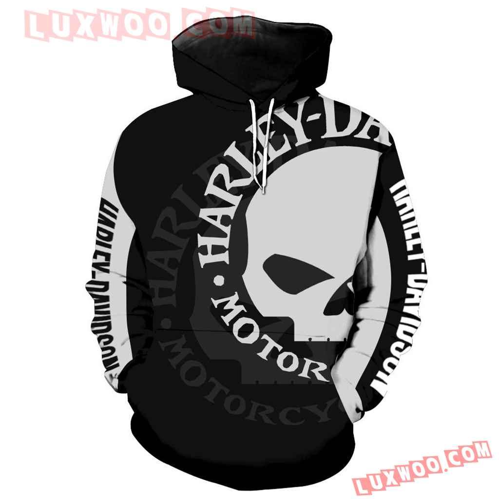 Harley Davidson Motorcycle Skull 3d Hoodies Printed Zip Hoodies V5