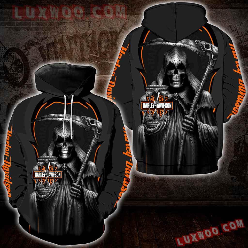Harley Davidson Motorcycle Skull 3d Hoodies Printed Zip Hoodies V7