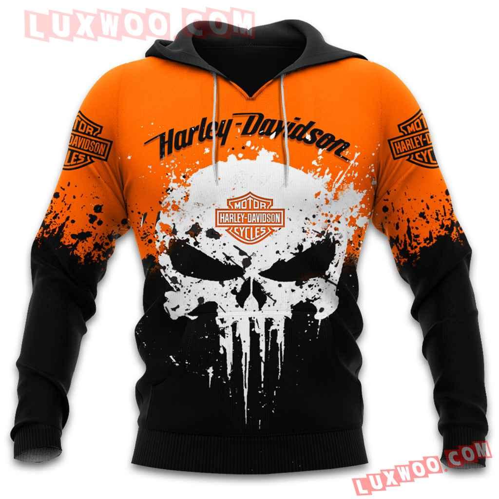 Harley Davidson Motorcycle Skull 3d Hoodies Printed Zip Hoodies V8