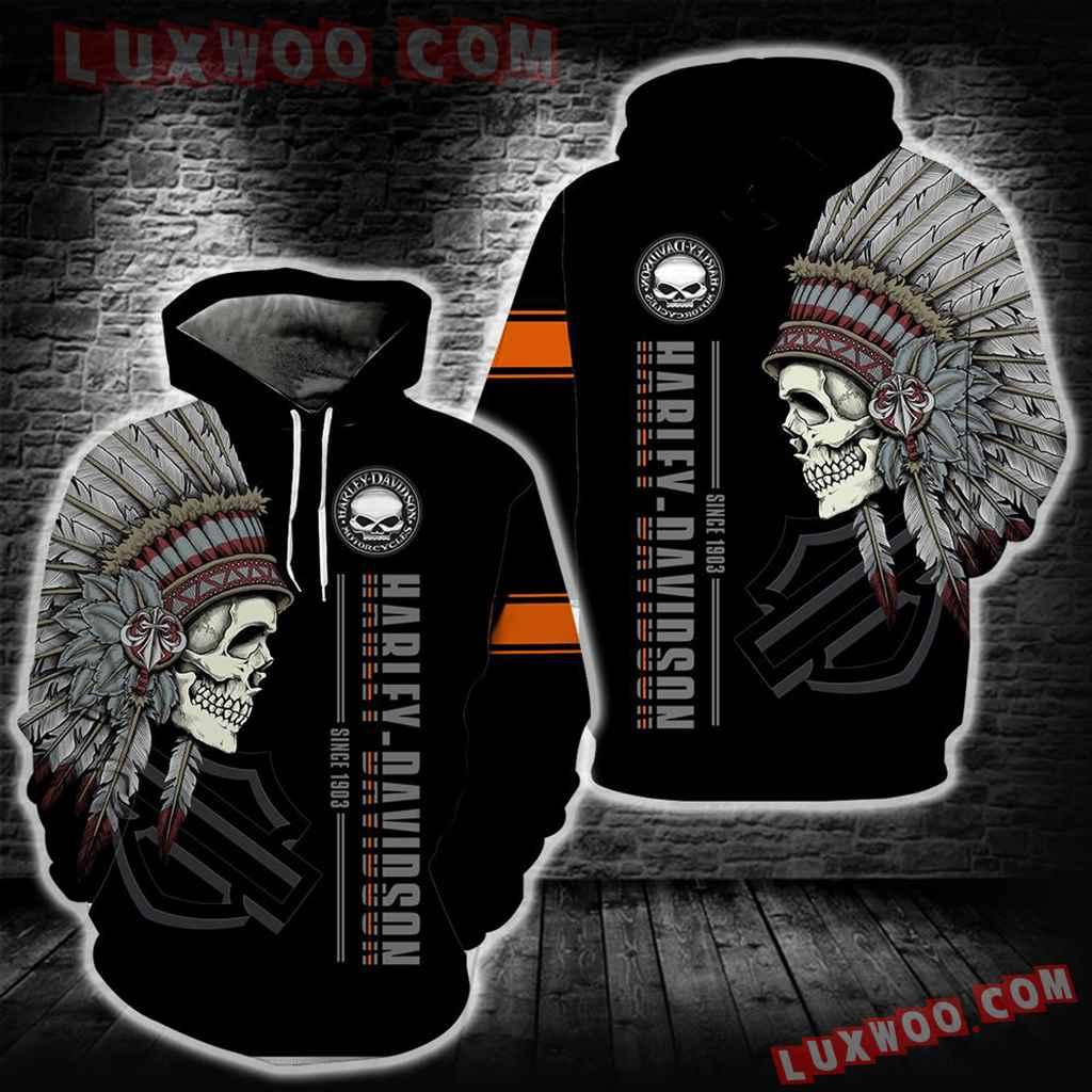 Harley Davidson Native American Skull 3d Hoodies Printed Zip Hoodies