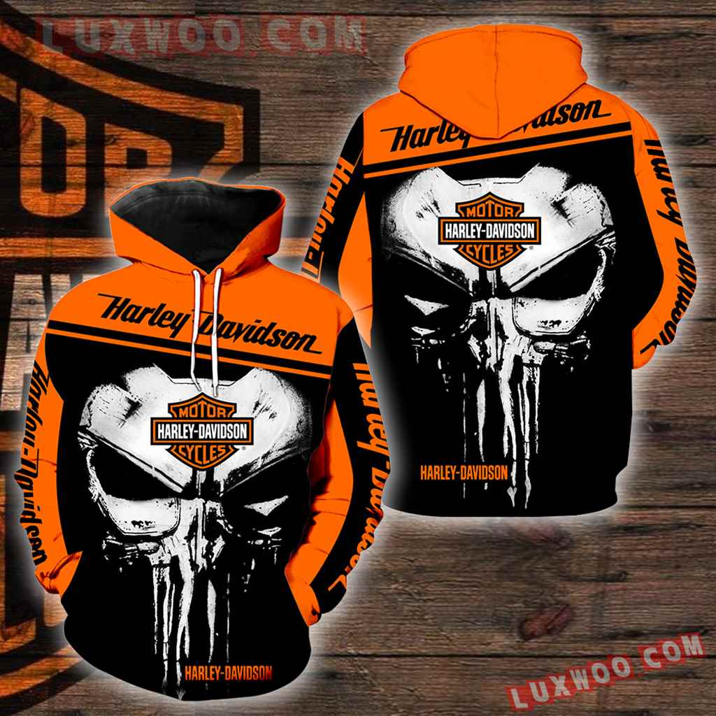 Harley Davidson Punisher 3d Hoodies Printed Zip Hoodies