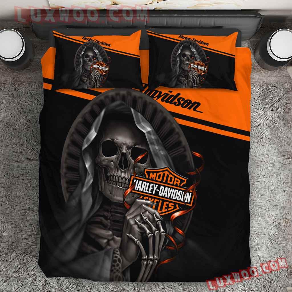 Harley Davidson Skull 3d Quilt Bedding Set V2