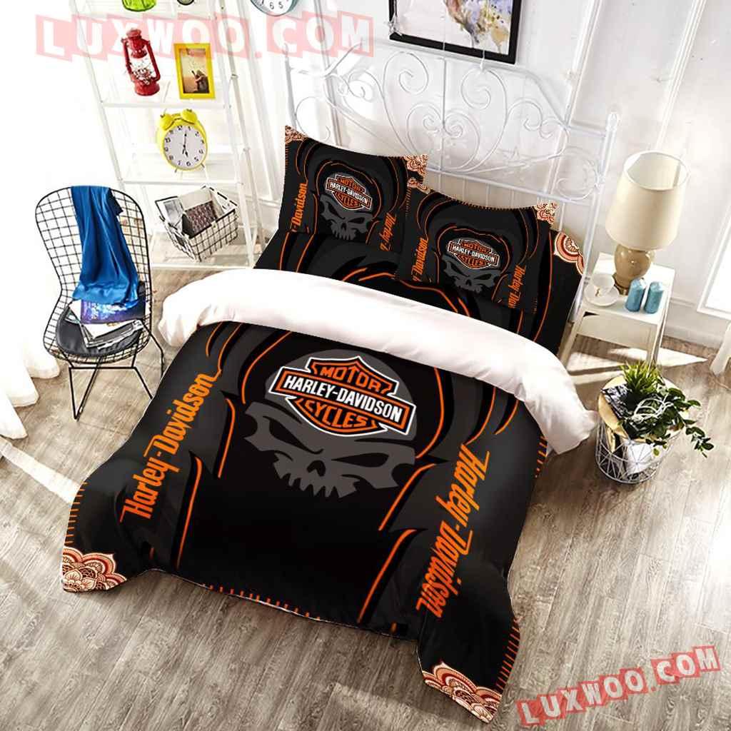 Harley Davidson Skull 3d Quilt Bedding Set V3