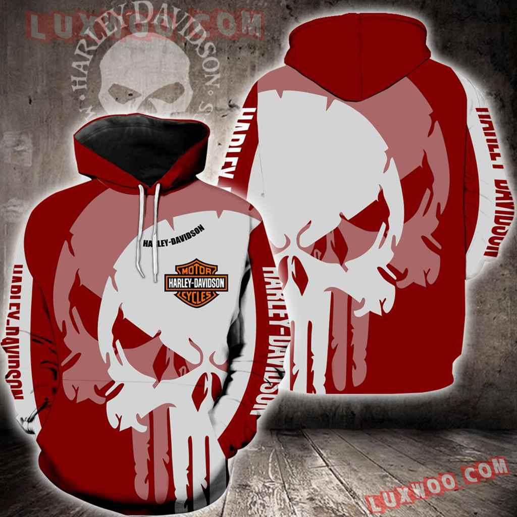 Harley Davidson Skull Red White 3d Hoodies Printed Zip Hoodies