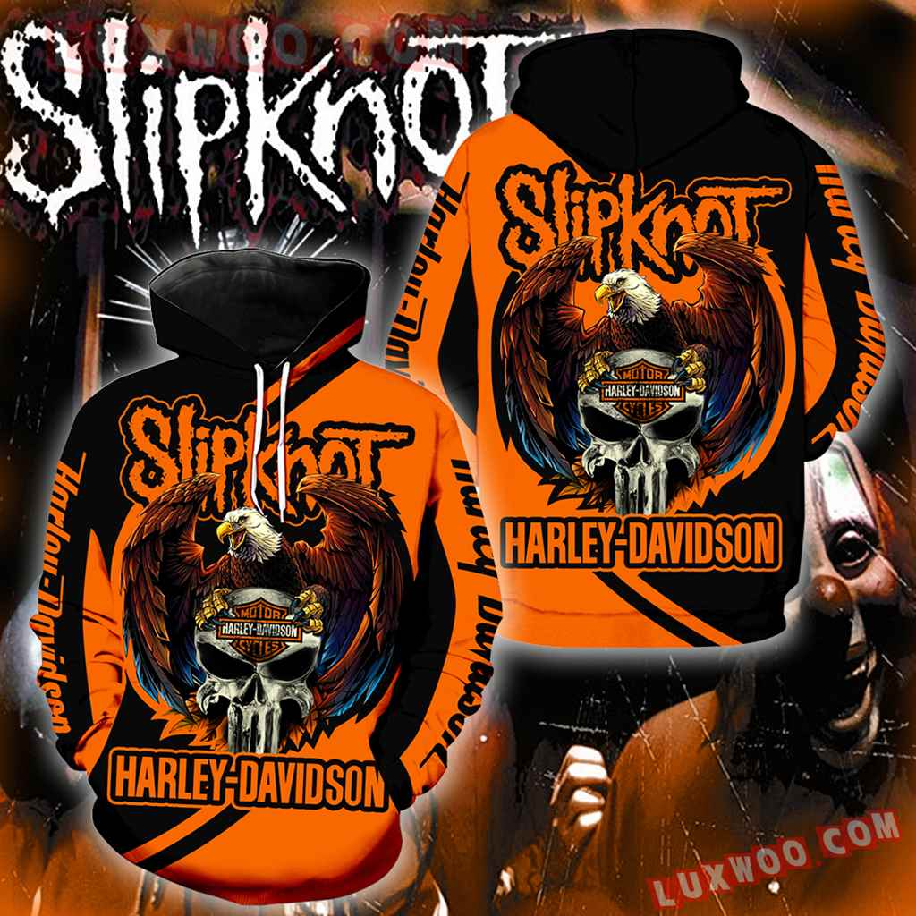 Harley Davidson Slipknot 3d Hoodies Printed Zip Hoodies