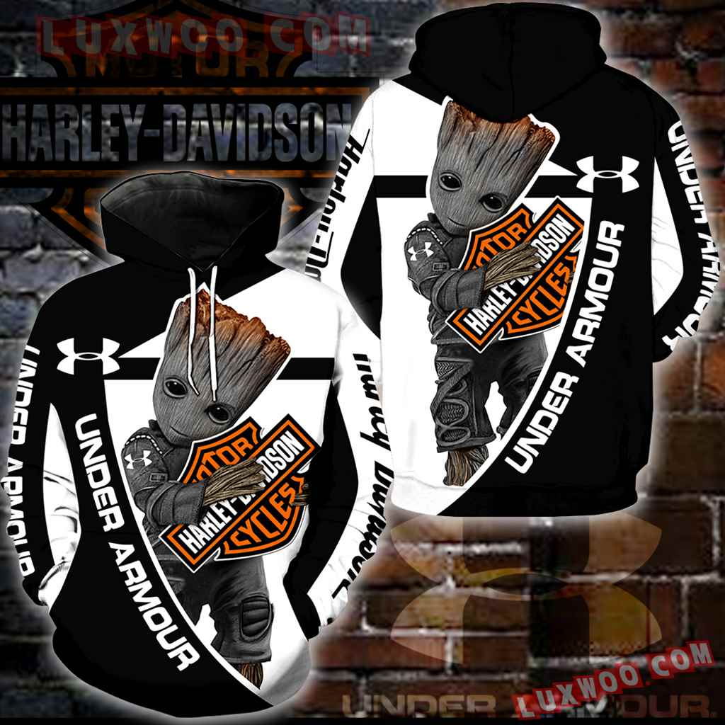 Harley Davidson Under Armour 3d Hoodies Printed Zip Hoodies