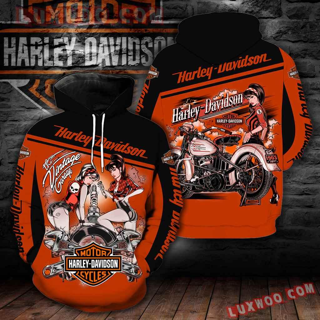 Harley Davidson Vintage Garage 3d Hoodies Printed Zip Hoodies