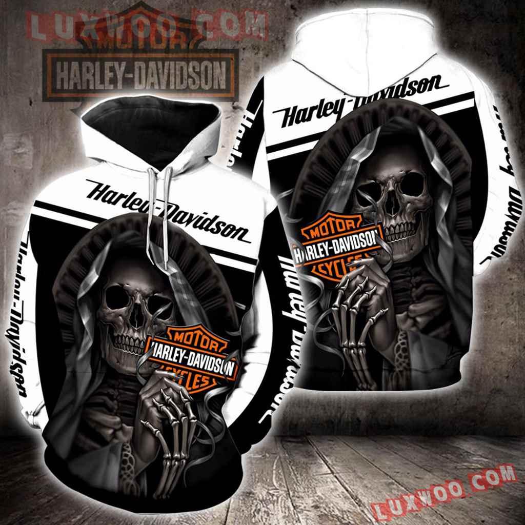 Harley Davidson White And Black 3d Hoodies Printed Zip Hoodies