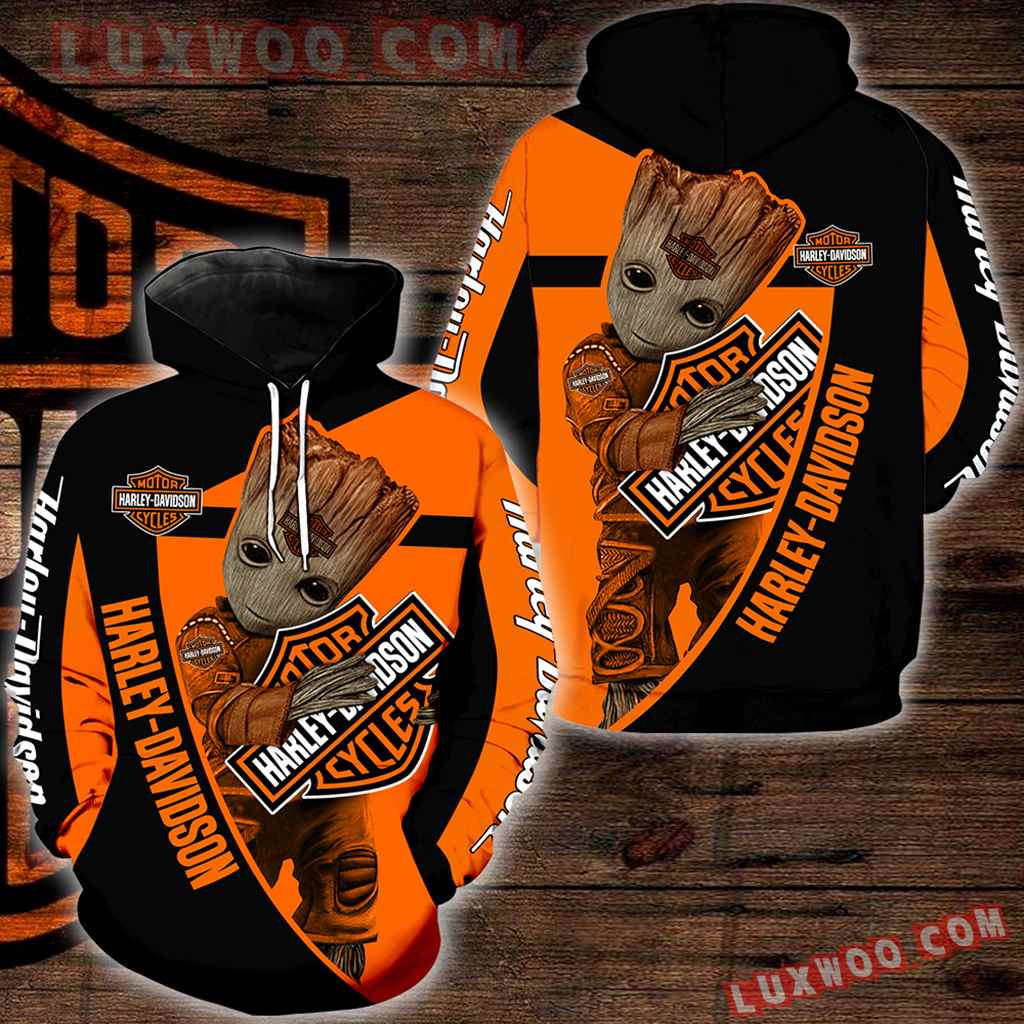 Harley Davidson With Groot 3d Hoodies Printed Zip Hoodies