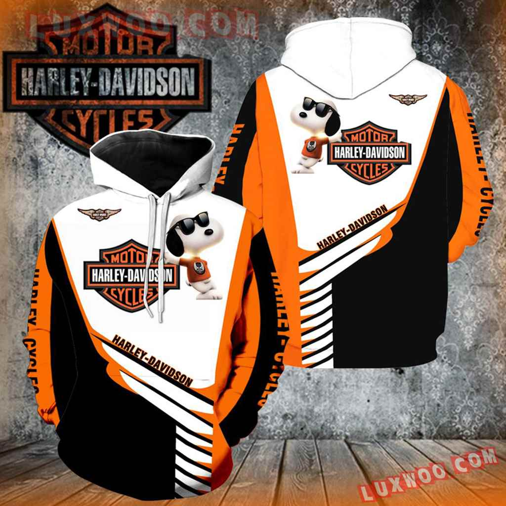 Harley Davidson With Snoopy 3d Hoodies Printed Zip Hoodies
