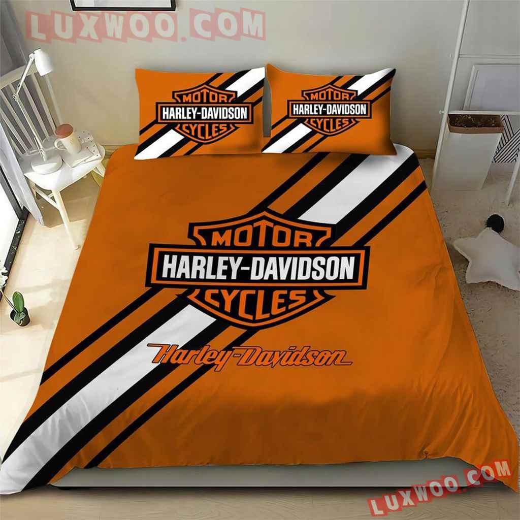 Orange 3d Quilt Bedding Set Harley Davidson V2