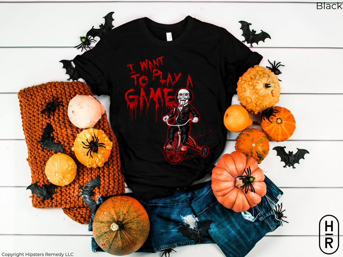 I Want To Play A Game T-shirt Saw Movie Horror Villain