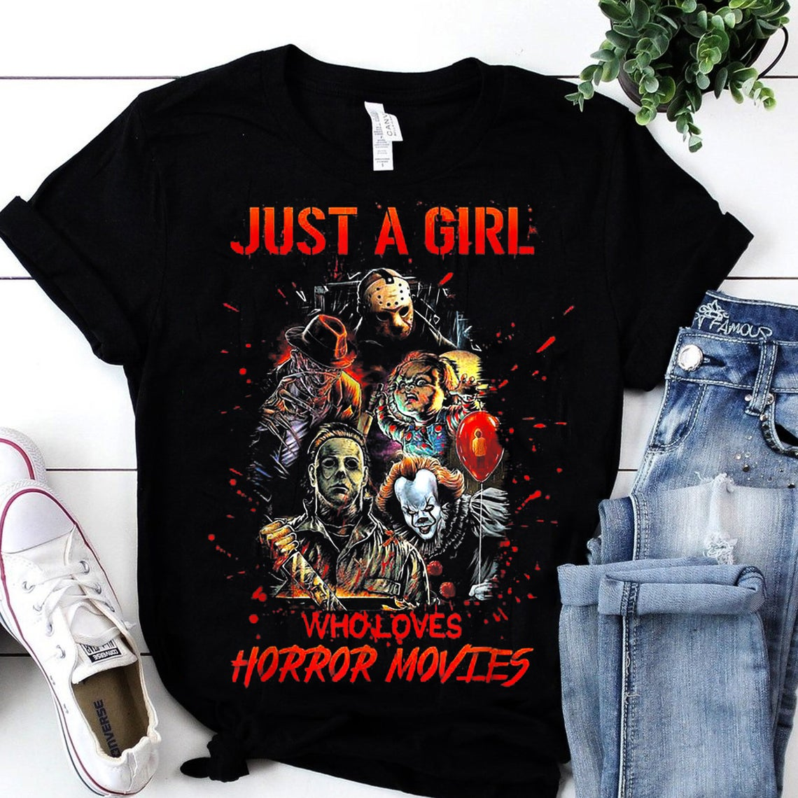 02 Just A Girl Who Loves Horror Movies T Shirt