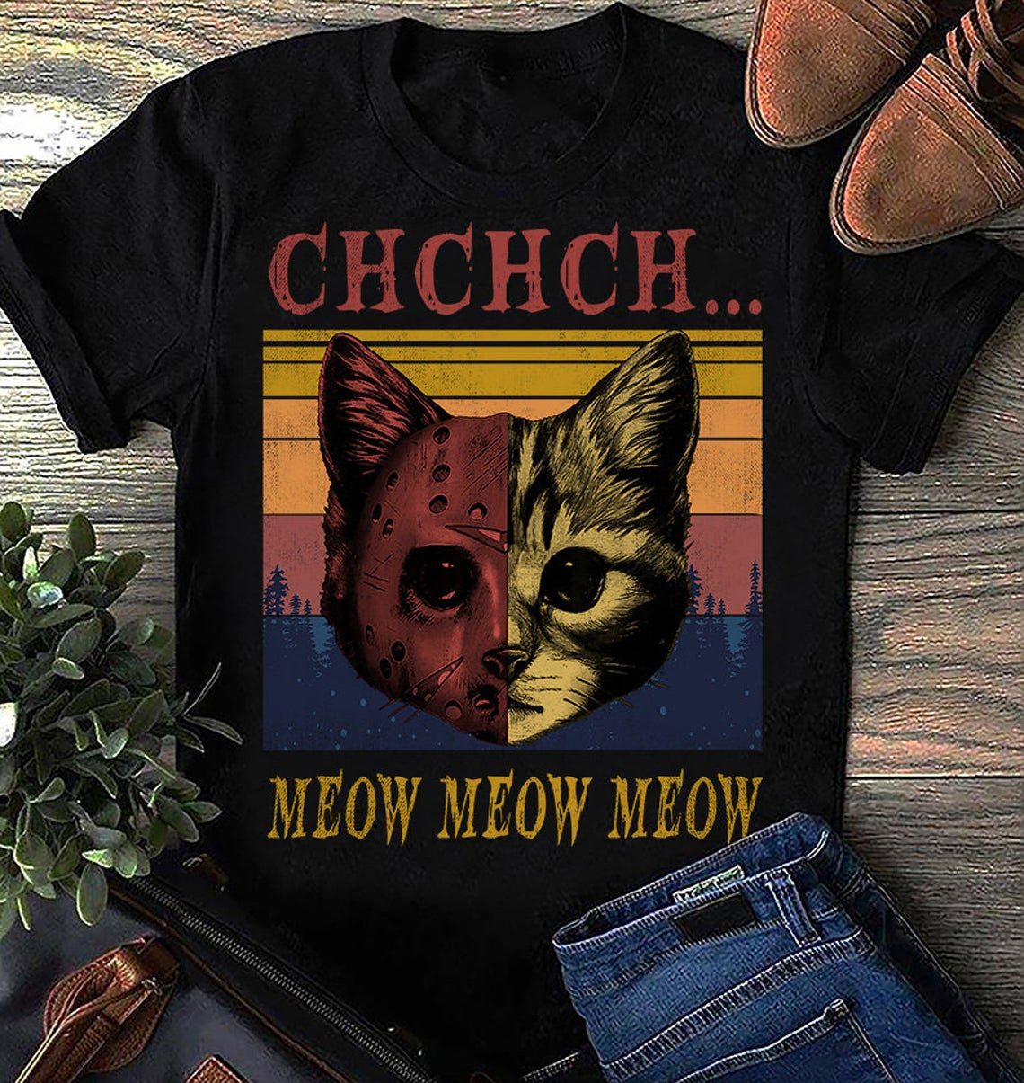Vintage Meow Meow Meow Cat Halloween Tshirt