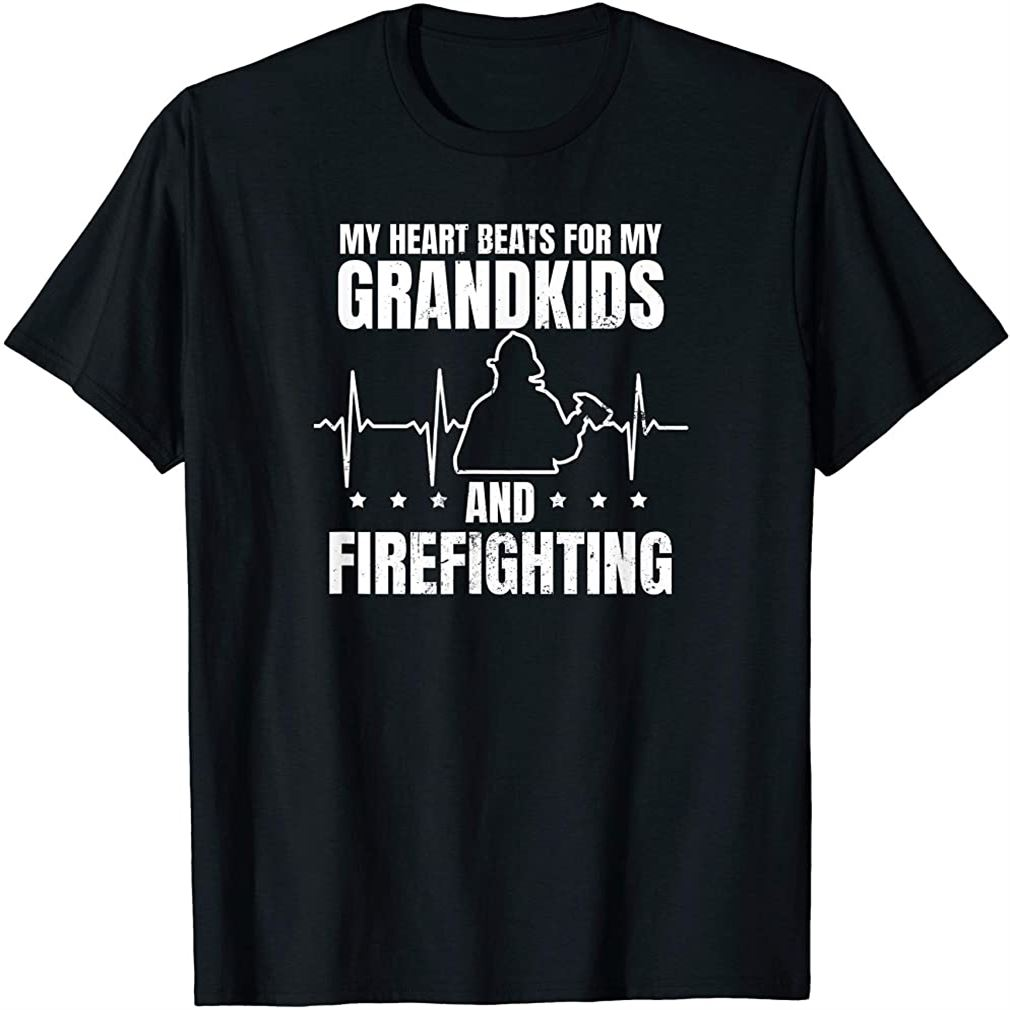 Firefighter Grandpa Design Heartbeat Ecg Gift Size Up To 5xl