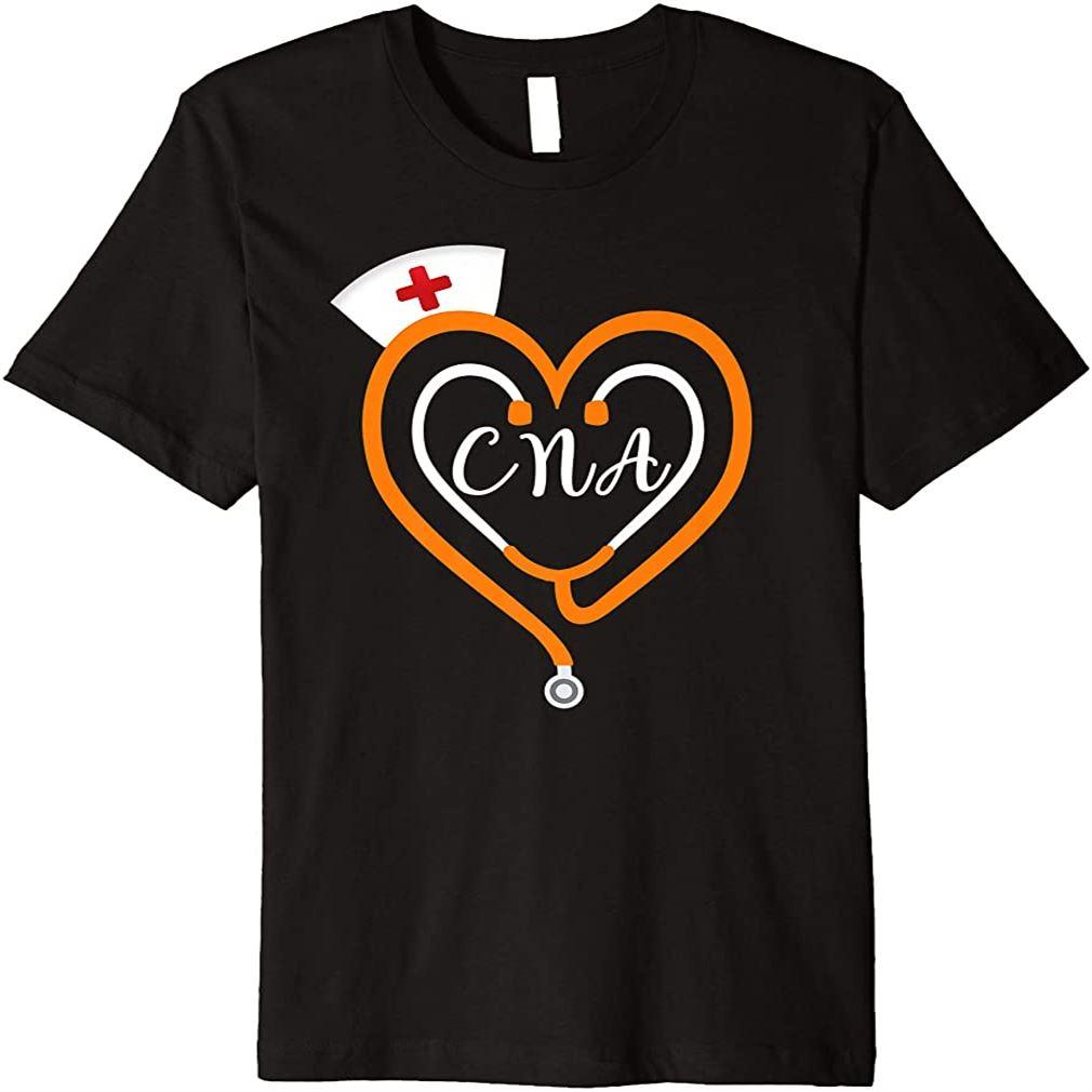 Cna Nurse Halloween Costume Stethoscope Heart Rn Gift Premium T-shirt Plus Size Up To 5xl