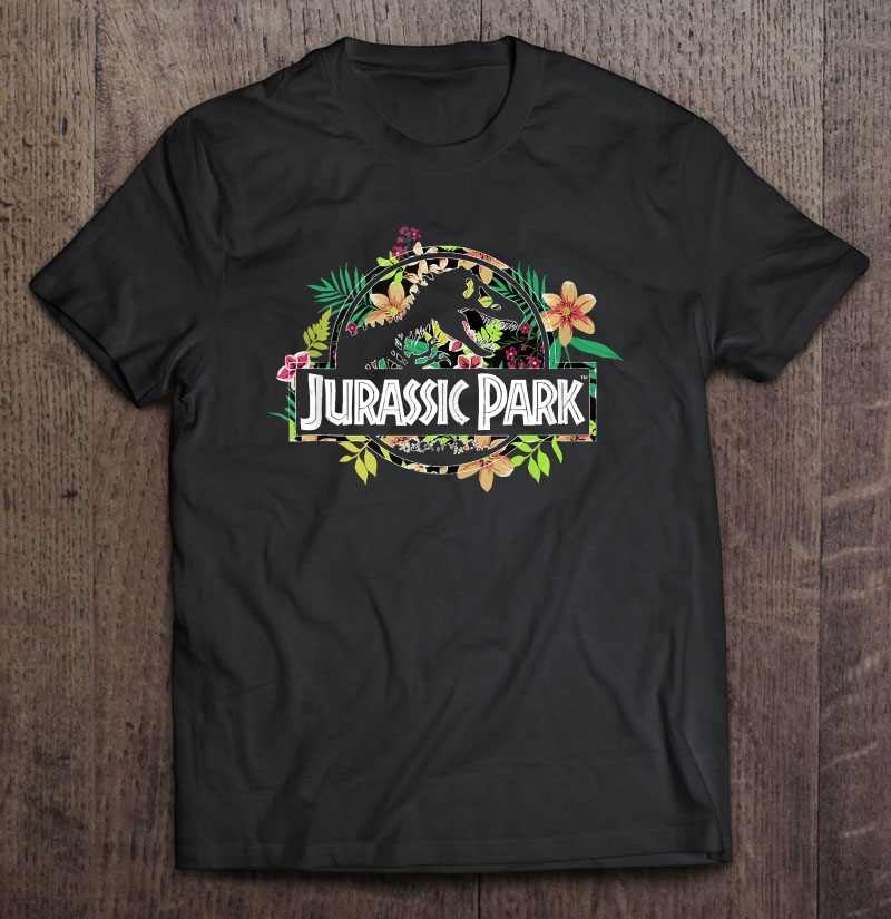 Jurassic Park Floral Tropical T-rex Fossil Logo Full Size Up To 5xl Size Up To 5xl