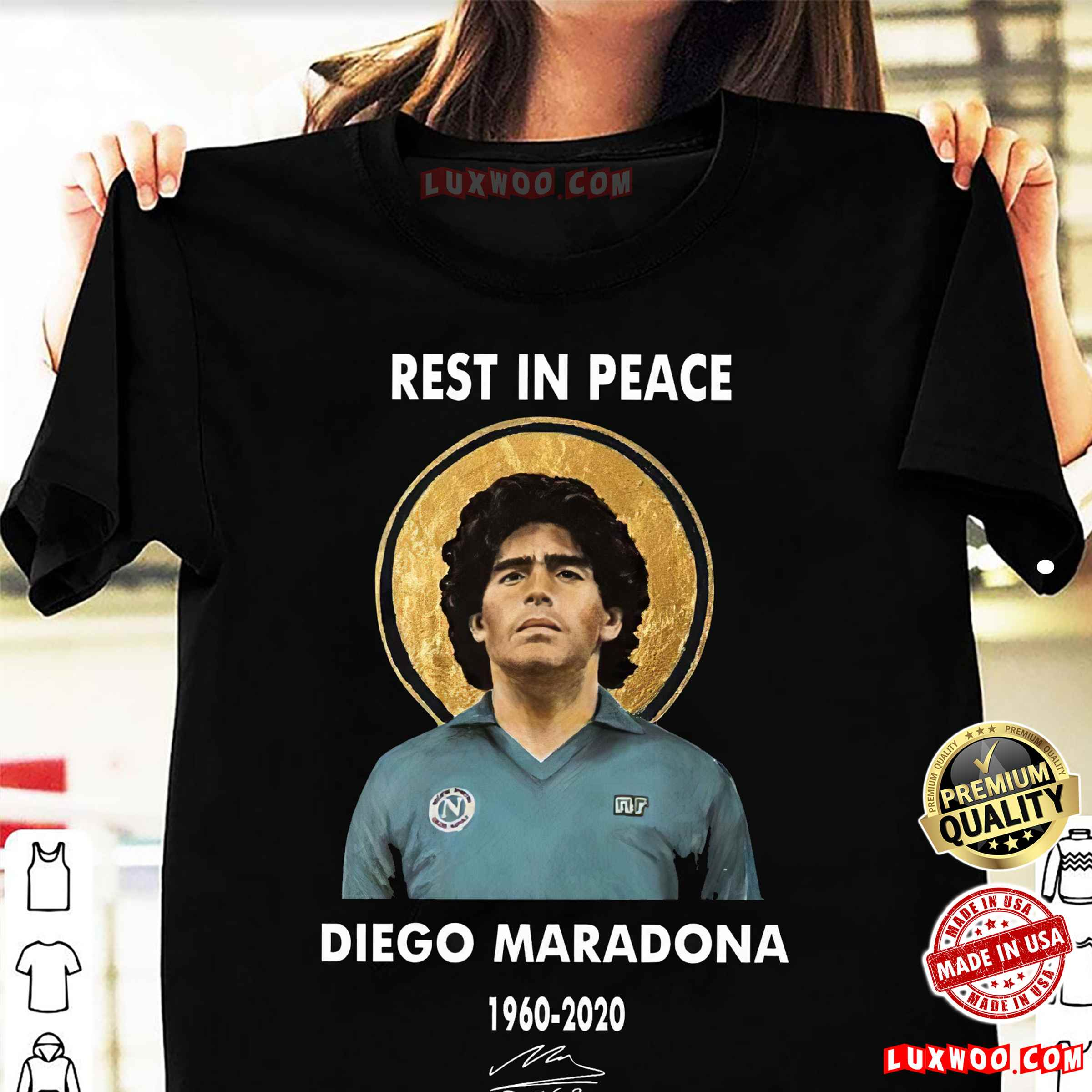 Diego Maradona Napoli T-shirt Rest In Peace 1960-2020 Soccer Legend Size S-5xl