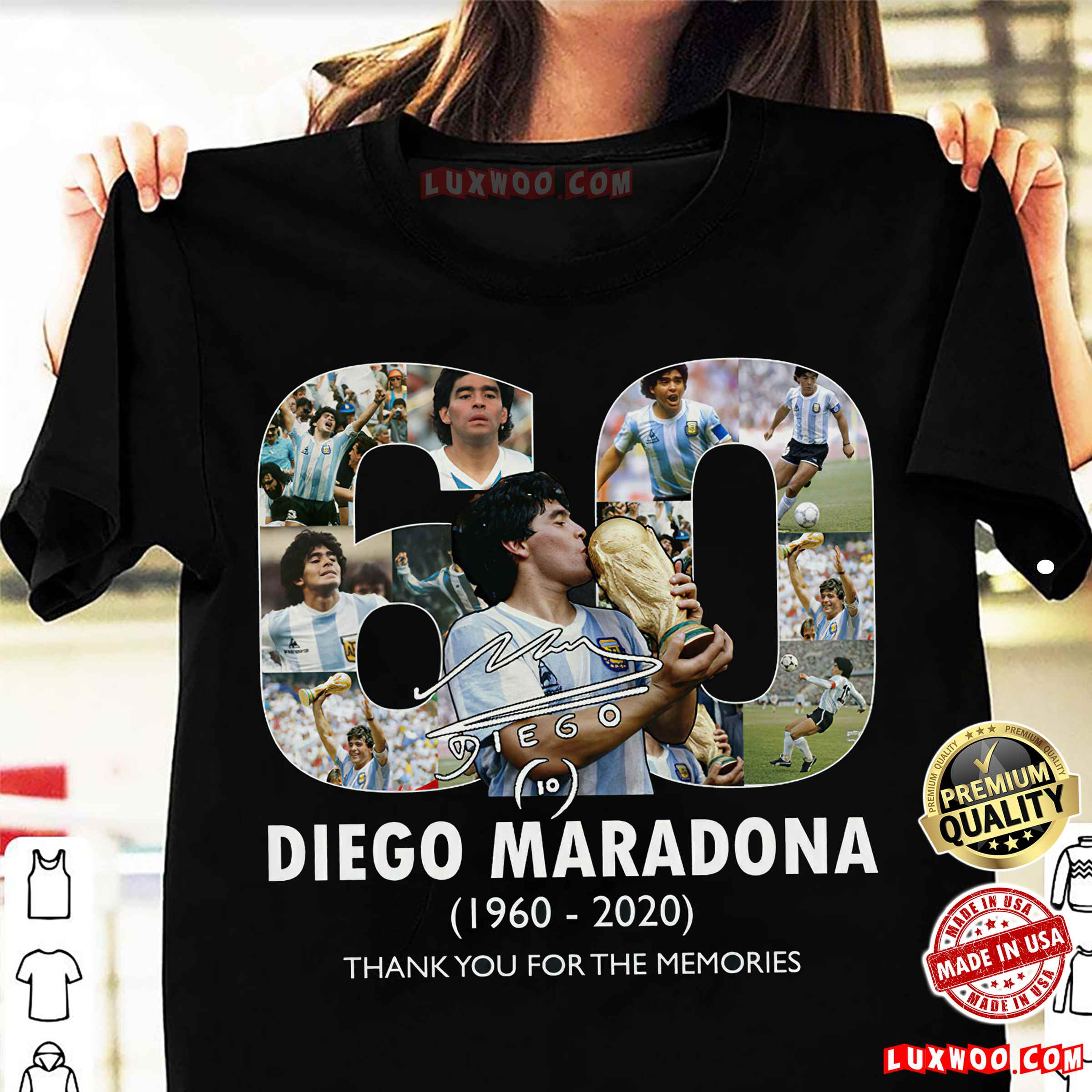 Rip Diego Maradona 1960 - 2020 Thank You For The Memories Shirt