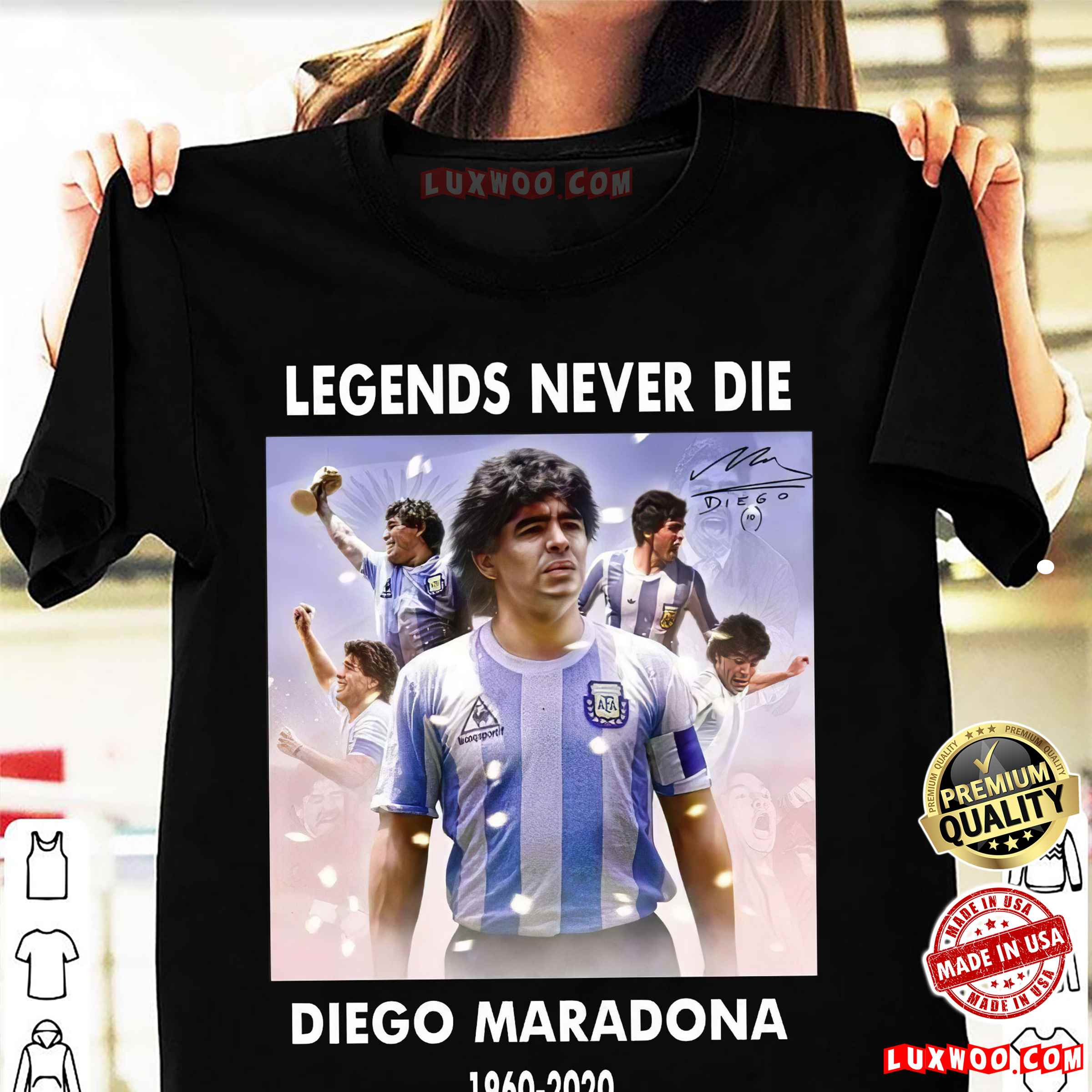 Soccer T-shirt Diego Maradona Argentina Football Legend Never Die Rest In Peace