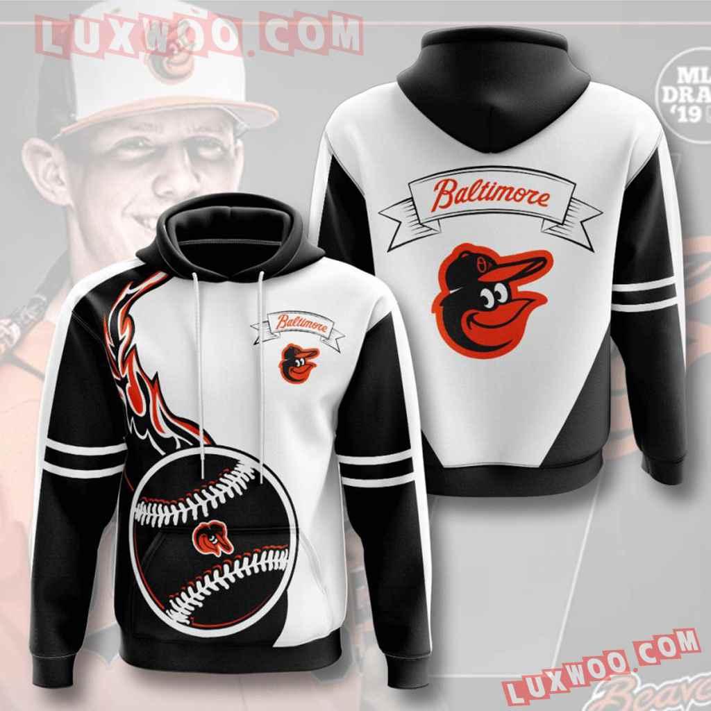 Mlb Baltimore Orioles 3d Hoodies Printed Zip Hoodies Sweatshirt Jacket V4