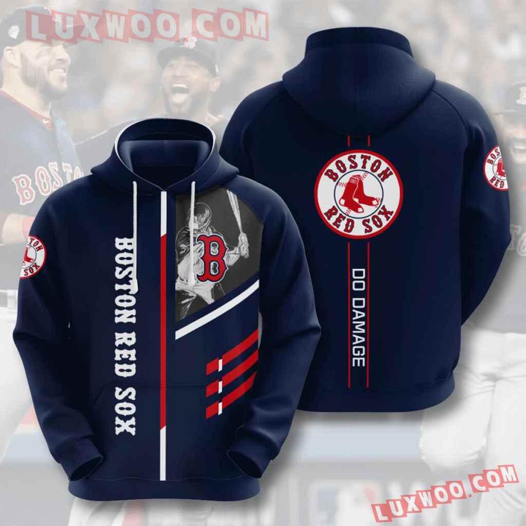 Mlb Boston Red Sox 3d Hoodies Printed Zip Hoodies Sweatshirt Jacket V1