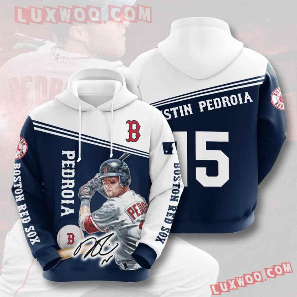 Mlb Boston Red Sox 3d Hoodies Printed Zip Hoodies Sweatshirt Jacket V9