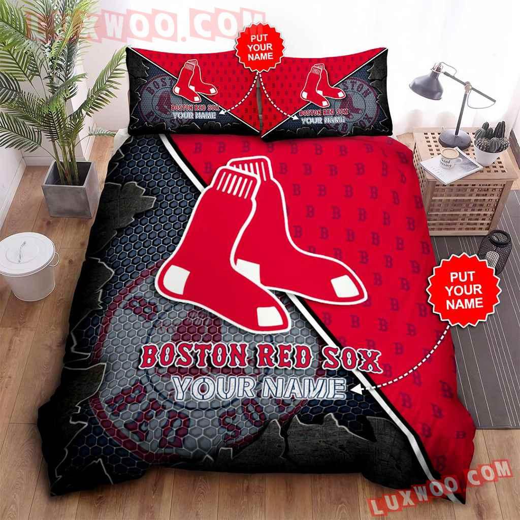 Mlb Boston Red Sox 3d Quilt Bedding Set V3