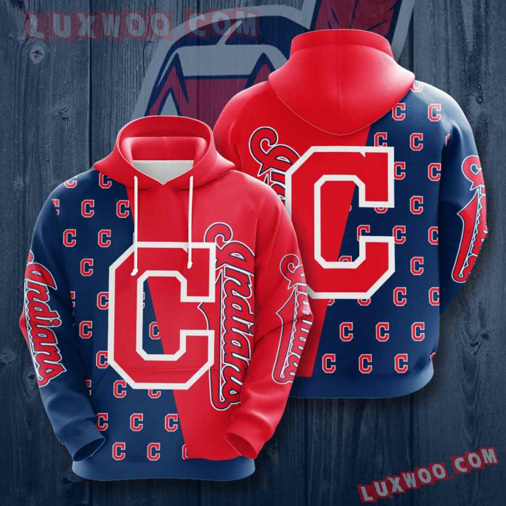 Mlb Cleveland Indians 3d Hoodies Printed Zip Hoodies Sweatshirt Jacket V1