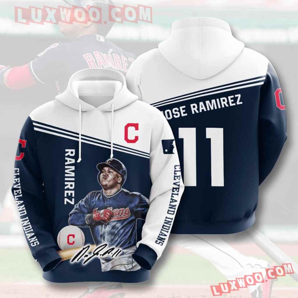 Mlb Cleveland Indians 3d Hoodies Printed Zip Hoodies Sweatshirt Jacket V10