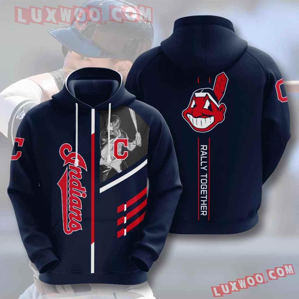 Mlb Cleveland Indians 3d Hoodies Printed Zip Hoodies Sweatshirt Jacket V4