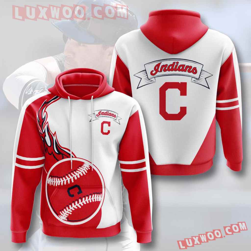 Mlb Cleveland Indians 3d Hoodies Printed Zip Hoodies Sweatshirt Jacket V5