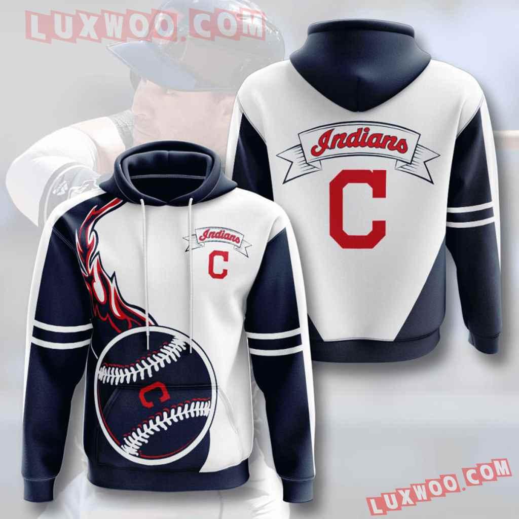 Mlb Cleveland Indians 3d Hoodies Printed Zip Hoodies Sweatshirt Jacket V6