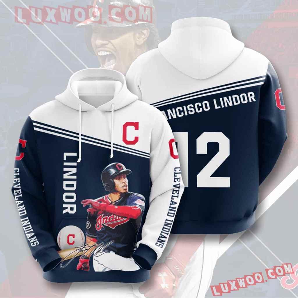 Mlb Cleveland Indians 3d Hoodies Printed Zip Hoodies Sweatshirt Jacket V8