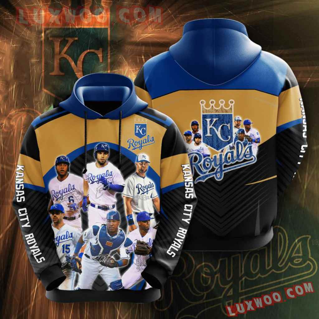 Mlb Kansas City Royals 3d Hoodies Printed Zip Hoodies Sweatshirt Jacket V1