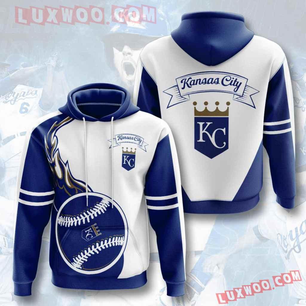 Mlb Kansas City Royals 3d Hoodies Printed Zip Hoodies Sweatshirt Jacket V4